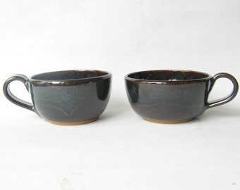 Cappuccino Cups 12 oz. Set of 2, Wide Mouthed Cups,  Large Cups, Tea Cups Set of 2