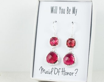 Long Ruby Silver Earrings, July Birthstone Earrings, Red Silver Earrings, Bridesmaid Earrings, Ruby Wedding Jewelry, Bridesmaid Gift