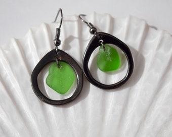 Gunmetal Sea Glass Earrings | Sea Glass Earrings | Green Sea Glass Earrings