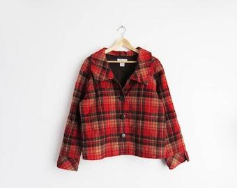 Plaid Pendleton Jacket // Medium Wool Pendleton Boxy Coat // Women's Vintage Clothing