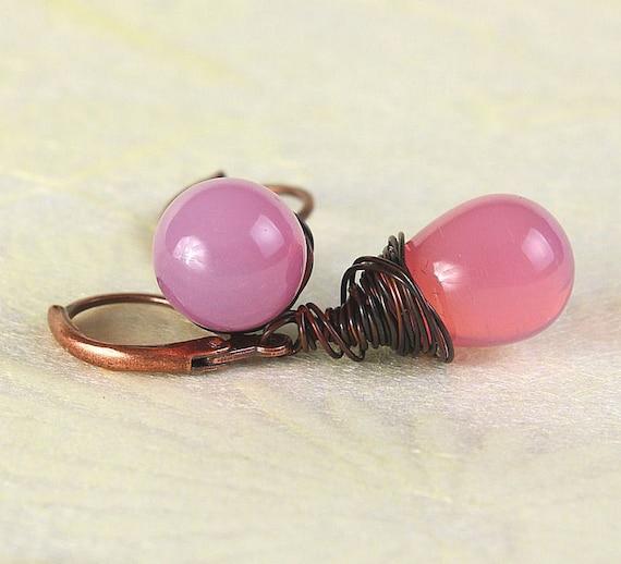 Milky pink Czech briolette, antique copper leverback earrings (378)