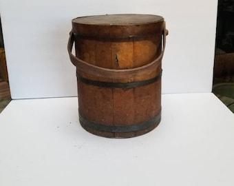 Vintage Wood Firkin Bucket Pail Farmhouse Primitive Barn Rustic Metal Band Wood Handle Cover Lid