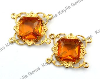 Victorian Filigree Focal Connector Raw Brass Octagon Square Jewel  15mm- Amber