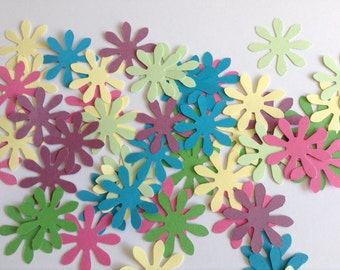 50 Colourful punched paper flowers, flower confetti, table decor, wedding confetti, card making, punched flowers, purple, green, pink