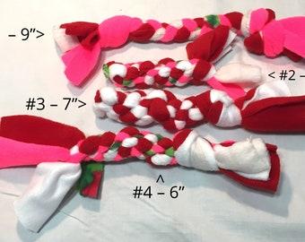 "Dog Tug 5-9"" Fleece, Braided, Dog Toy - Red Series"
