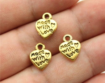 20 Made with Love Heart Charms, Antique Gold Tone