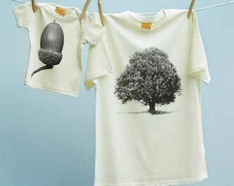 Matching Father's Day T Shirt Oak Tree & Acorn Twinset for Father and Son or Daughter - Natural unbleached organic cotton