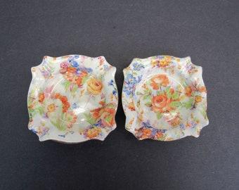 Vintage Erphila 'Chelsea' Chintz Colorful Floral Cocktail Ashtrays, Set of 2 (E10582)