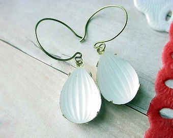 Crystal and Gold Earrings Vintage Frosted Melon Glass Dangles Clear White  Brass Gift Box