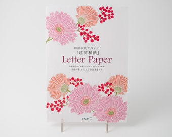 Midori Letter Paper pad with pink daisies