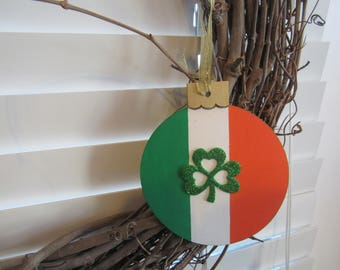 Irish decor, Irish tree ornament, St. Patrick's Day accent sign, Irish Flag accent ornament, gift or package tie on