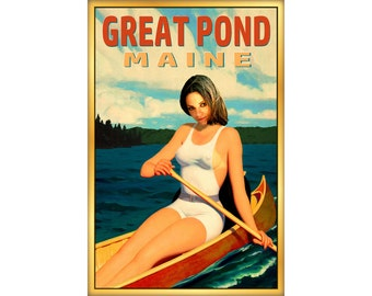 Great Pond Maine Travel Poster New England Lake Canoe Pin Up Art Print 273