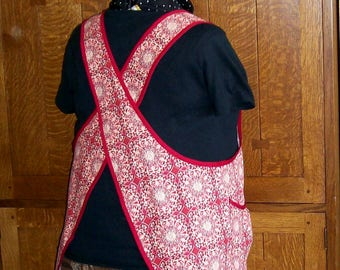 Red Medallion Cross Back Apron - Plus Size Cross Back in Brick Red - Size 2-3XL