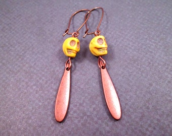 Yellow and Copper Dangle Earrings, Howlite Skulls and Spikes, Dagger Earrings, FREE Shipping U.S.