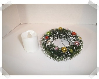 "Bottle Brush Wreath Ornament with battery operating candle/ 4"" wide/ Fake Snow /Holiday Decor/Supplies*"