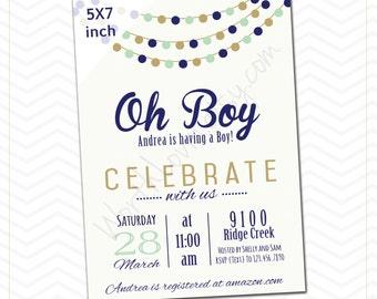 Baby Boy Baby Shower Invitation, Celebrate, Paper Garland Theme Invitation, Pregnancy