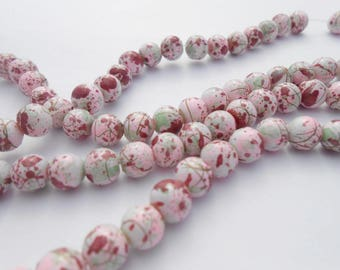 5 beads acrylic mottled 6 mm. (9226596)