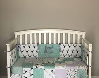 4 pc lavender & seafoam woodland floral crib set includes blanket, minky dot sheet, arrow and feather crib skirt and deer antler bumper pads