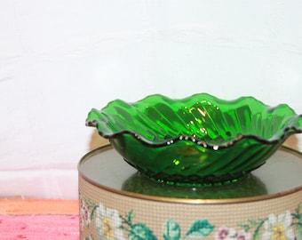 "Vintage Green Ruffled Edge Dish 2 1/2"" Tall, 6 3/4"" Across"
