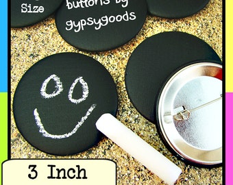 """3"""" Sets of (25)-(35)-(50)-(75)-(100)QTY: Chalkboard Pinbacks, Blackboard Badges, Nametags, Place Cards, Party Prizes, Corporate Giveaways"""