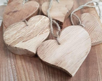Small solid wooden hearts