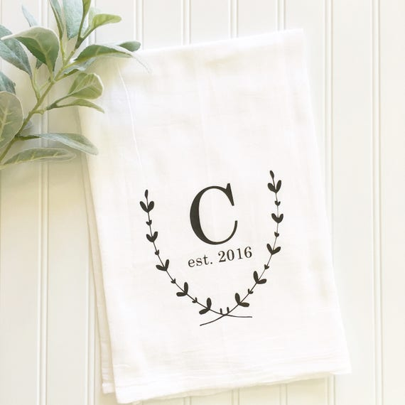 Embroidered Towels For Wedding Gift: Personalized Tea Towel Monogrammed Tea Towel Wedding Gift