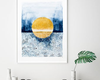 Blue poster print, modern minimal art, abstract watercolor painting, blue and gold art, blue wall art print, simple modern decor