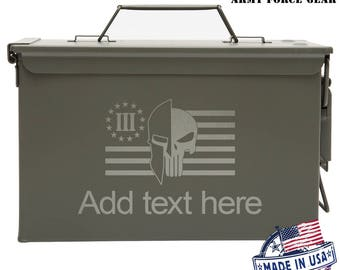 Spartan Punisher  Custom Engraved 30/50 Cal Ammo Can Personalized Dad Gift Cool Guy Gifts Father's Day Gift Grandpa Gift Groomsmen Hunter