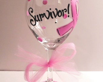 Pink Ribbon Breast Cancer Wine Glass