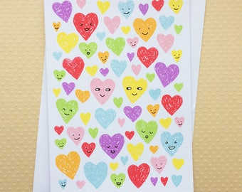 Love Hearts Screenprinted Card