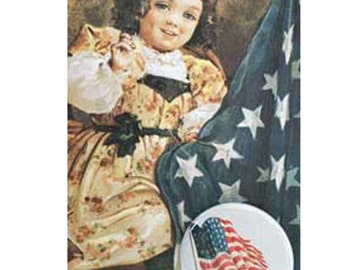 Victorian Girl Sewing Flag Button Note Card