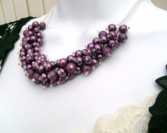 Plum Necklaces For Bridesmaids Gifts, Wedding Jewelry, Pearl Beaded Necklace, Bridal Pearls, Purple, Cluster Necklace, Chunky Necklace