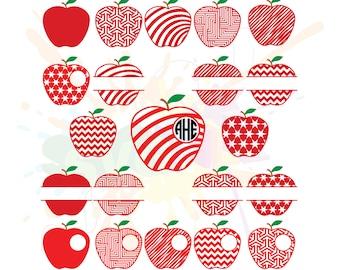 Apple SVG Files for Cutting Teacher Cricut Monogram Designs - SVG Files for Silhouette - Instant Download