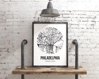 Philadelphia Map Wall Art Print, Philly City Map Poster Living Room Decor, Philadelphia Pennsylvania Office Decor