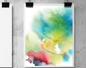 Abstract Art Print, Watercolor abstract painting print, turquoise yellow, modern wall print