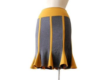 Pencil skirt, Womens Plus Size Clothing, Jersey Skirt, Gray Skirt, Jersey Custom Skirt, Mustard Yellow Skirt, Knee Length Skirt, Skirt