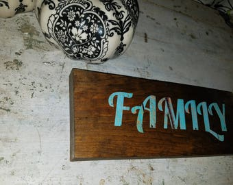 """Wood Sign with Vinyl Lettering - """"FAMILY"""""""