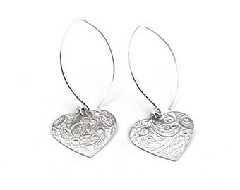 Sterling Silver Drop Earrings. Flower Heart Earrings. Gift For Her. Contemporary Jewellery. Floral Earrings. Everyday Earrings. Minimal