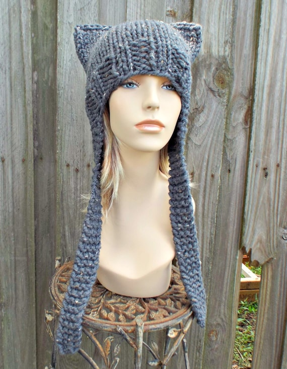 Graphite Tweed Grey Cat Hat Knit Hat Grey Womens Hat - Grey Ear Flap Cat Hat - Grey Hat Grey Beanie Grey Ear Flap Hat