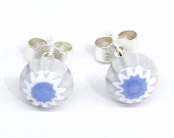 Murano Glass Millefiori Stud Earrings - Lilac/Lavender Flower on Sterling Silver Stud Post