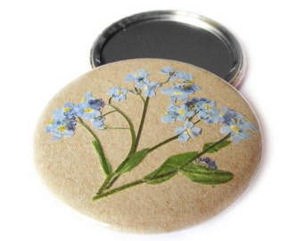 """Compact mirror with real dried forget-me-not. 59mm, Ø 2.25 inch, diameter 2.25"""", 2 1/4"""