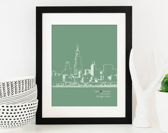 Chicago Skyline Art, Chicago Skyline, Personalized Chicago Art, Chicago Wedding Gift, Anniversary, Illinois, Engagement Gift - 8x10 Print