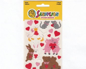 SALE Sandylion Fuzzy Animals in Love Vintage Maxi Sticker Sheet Package - 80's Mouse Pig Bear Bunny Goose Heart NIP Scrapbook Collage