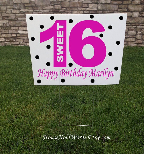 Sweet 16 Birthday Party Yard Sign Custom 16th Birthday Party