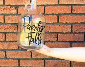 Paradise Falls Jar | Disney's Up | Money Bank | Hand Lettered Glass Jar
