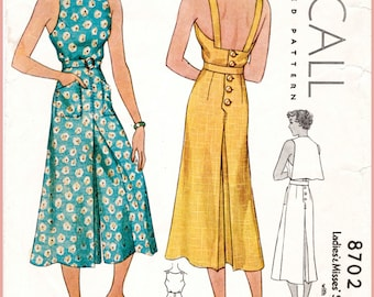 30s 1930s repro vintage women's sewing pattern // pinafore jumpsuit // beach summer sports // overalls wide culottes // bust 32 34 36 38 40