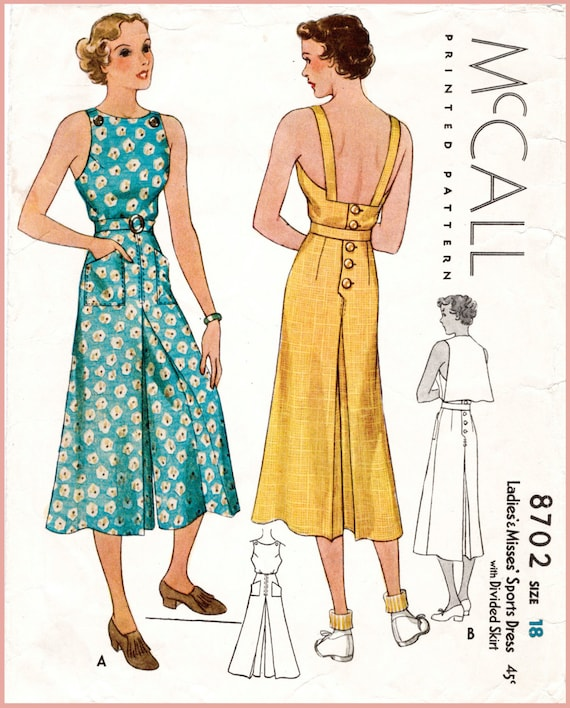 30s 1930s repro vintage women\'s sewing pattern // pinafore