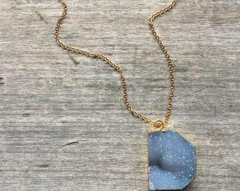 Denim Blue Freeform Druzy Necklace - Freeform Druzy - Blue Druzy - Gift for her - Boho Chic - Blue Druzy Pendant - Druzy - Unique gift