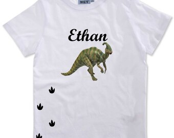 Boy dinosaur personalised with name t-shirt
