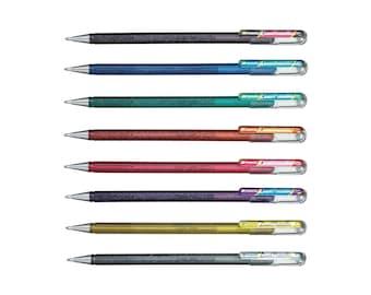 Pentel Hybrid Dual Metallic x1 / pink, red, black, gold, silver, violet, green, bleu, orange